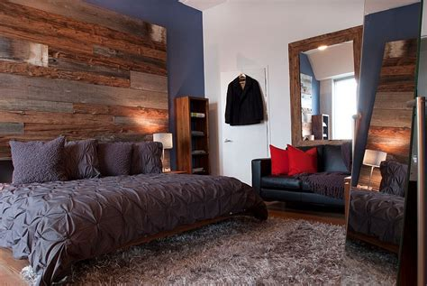 reclaimed wood bedroom urbane bedroom with reclaimed wood accent wall and organic