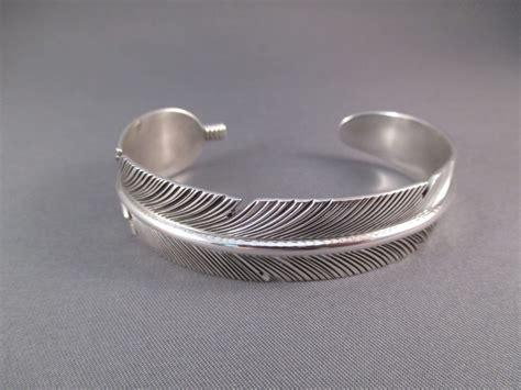 silversmith jewelry joe mace sterling silver feather bracelet two grey