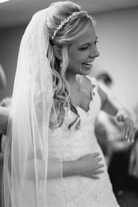 Wedding Hairstyles For Hair With Veil And Headband by Putting The Dress On Half Up Hair Pearl Headband