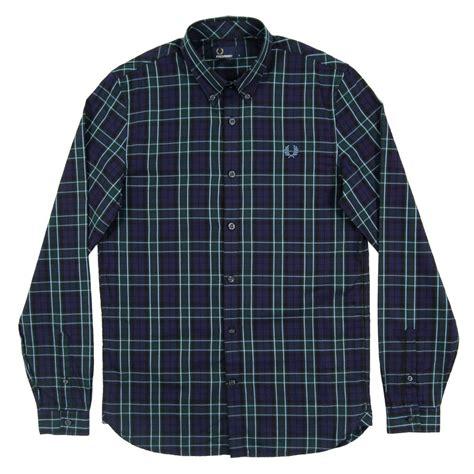 Tartan Navy Green fred perry m2566 enlarged tartan shirt navy green mens clothing from attic clothing uk