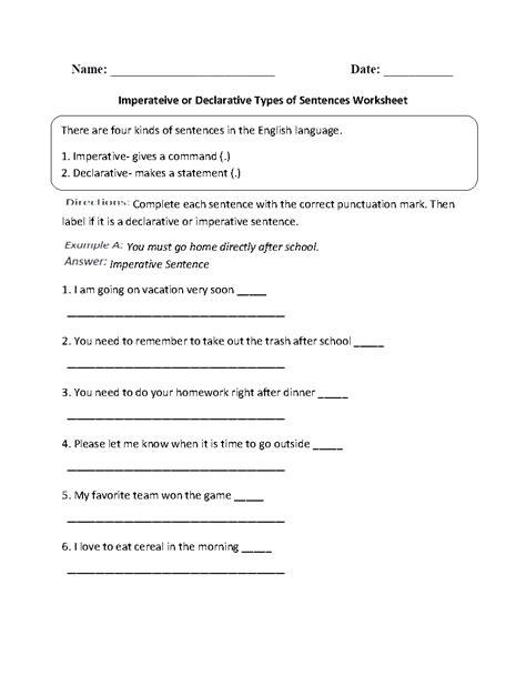 Types Of Sentences Worksheet Pdf by Sentences Worksheets Types Of Sentences Worksheets