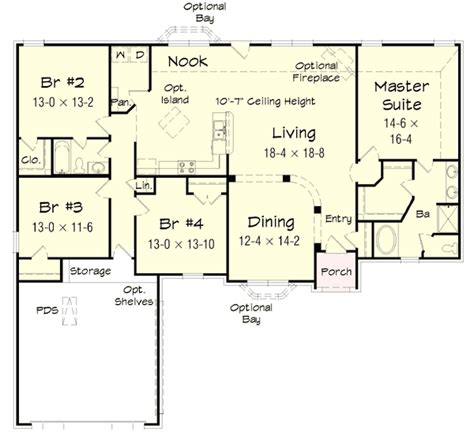 4 bedroom ranch floor plans 4 bedroom brick ranch home plan 68019hr 1st floor