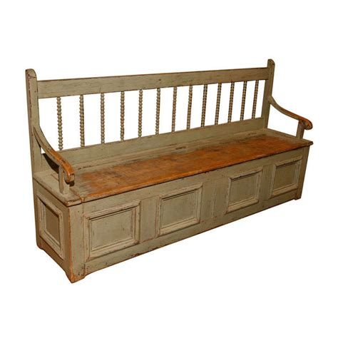 bench furniture canada long green canadian bench with spinles and storage at 1stdibs