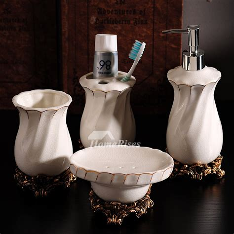 High End Bathroom Accessories High End Ceramic Bathroom Accessories Set In White