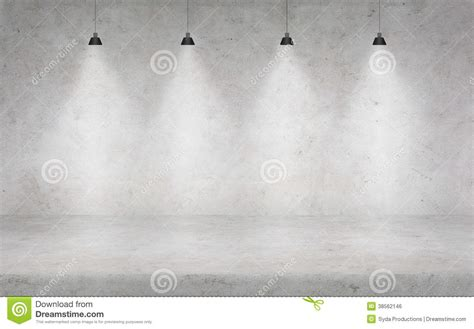 3 Light Floor Lamp Concrete Wall With Lights Stock Photo Image Of