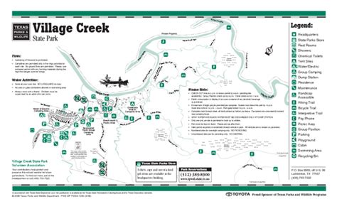 texas state park map creek state park texas