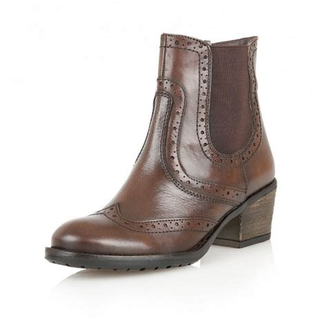 brown leather brogue ankle boot