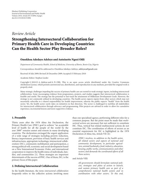 Pdf Challenges Collaboration Environmental Governance Responses by Strengthening Intersectoral Collaboration Pdf