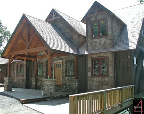 Garage Roof Truss Design heavy timber entry way with cultured stone poplar bark