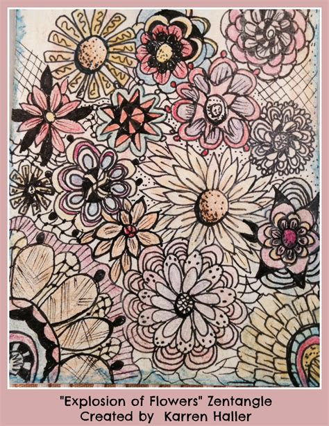 doodle flowers explosion new zentangle doodle tags oh my heartsie