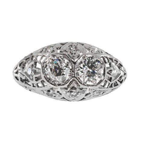 deco filigree engagement rings deco filigree dome platinum engagement ring for sale at 1stdibs