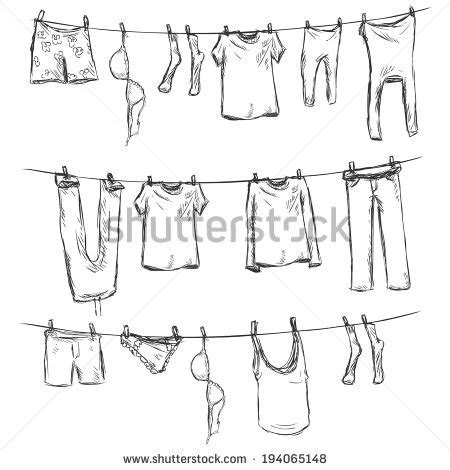 Washing Line Outline by Free Clothes Line Clipart 50