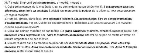 Antonyme De Vaniteux by Modeste La D 233 Finition Du Terme Quot Modeste Quot
