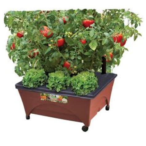 city pickers patio garden city pickers 24 5 in x 20 5 in patio raised garden bed grow box kit with watering system and