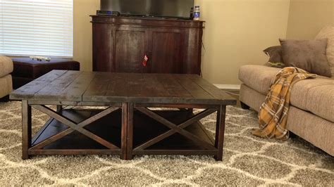 white rustic x square oversized coffee table diy