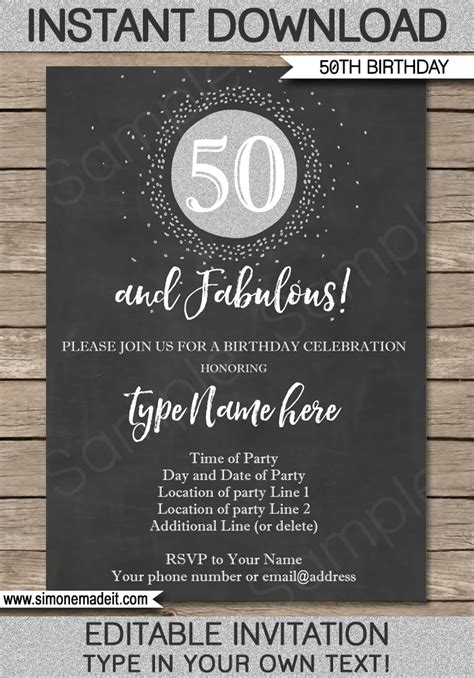 invitation sles for 50th birthday chalkboard 50th birthday invitation template silver glitter