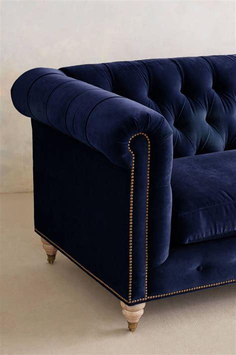 blue velvet couch anthropologie dark blue velvet lyre chesterfield sofa anthrofave home
