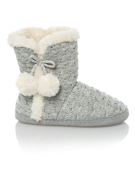 sainsburys slipper boots womens grey cable knit slipper boots tu clothing