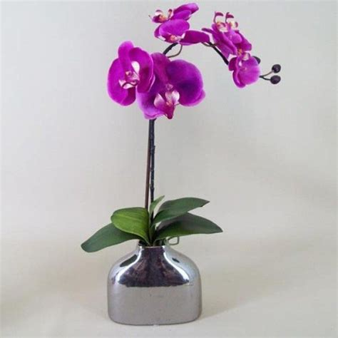 Silver Vase Orchids by Artificial Phalaenopsis Orchid Plant In Silver Vase Mauve