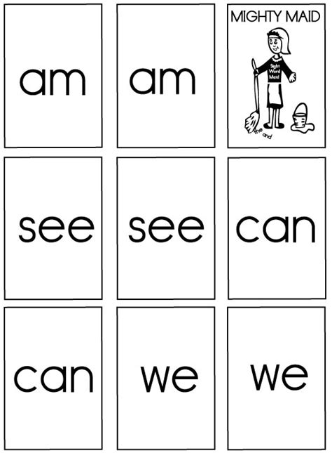 printable sight word index cards sight word games mighty maid