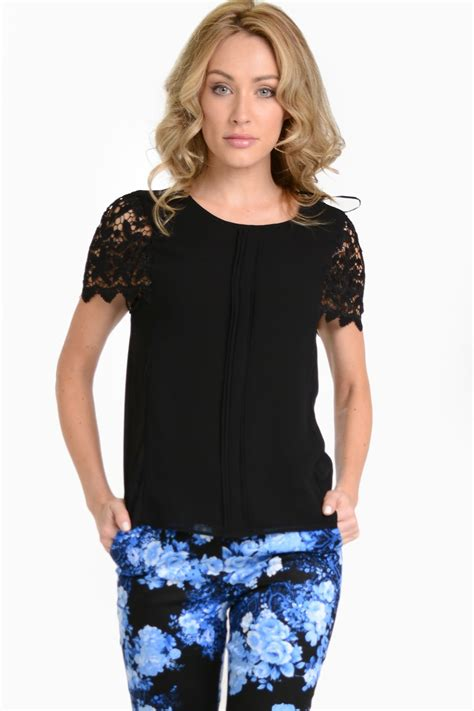 Lace Chiffon Top marc angelo ruth lace sleeve chiffon top in black iclothing
