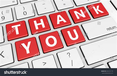 Thank You Letter To Computer Thank You Sign And Letters On Computer Button Key Marketing And Customers Thanks Giving Concept