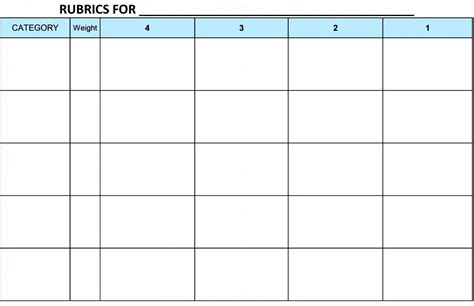 blank rubric template blank grading project rubric template word excel