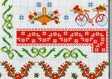 ricamare fiori bordure da ricamare con fiori papaveri e biciclette