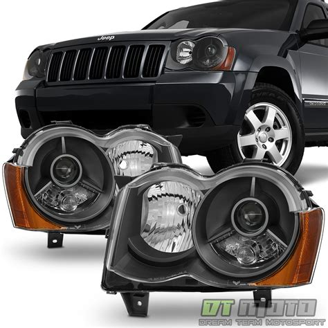 jeep black headlights black 2008 2010 jeep grand projector headlights