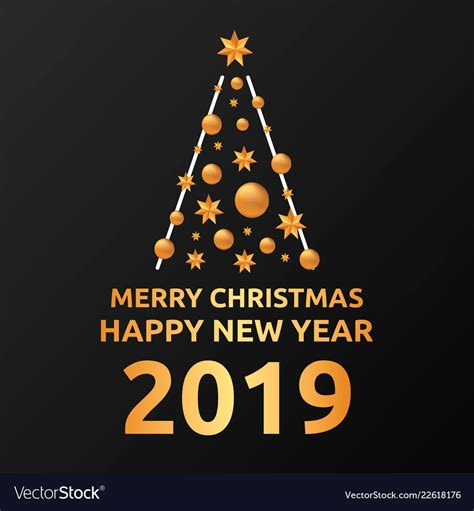 merry christmas  happy  year post card vector image