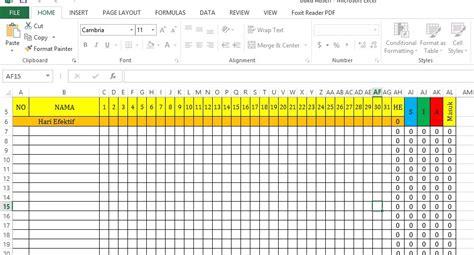 contoh format grafik absensi siswa aplikasi buku absen kelas otomatis format excel