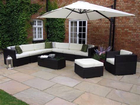 Garden Furniture Ideas Oakita Rattan Garden Furniture Corner Sofa And King Parasol Landscaping Pinterest Gardens
