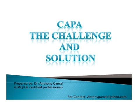 Capa A Five Step Plan capa the challenge and solution