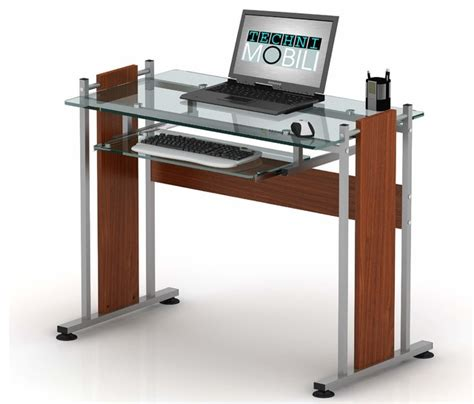 Techni Mobili Glass Top Computer Desk In Mahogany Modern Computer Desk Mahogany