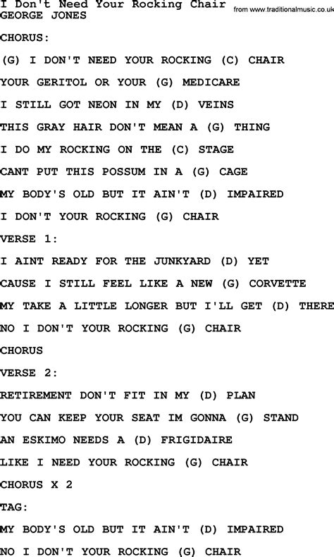 Z Chair Lyrics by I Don T Need Your Rocking Chair By George Jones Counrty
