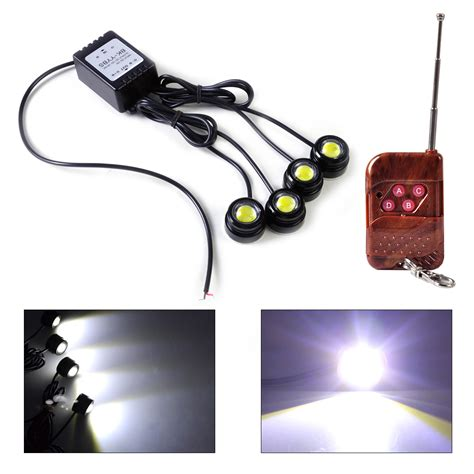 remote control strobe light 4in1 12v hawkeye led car emergency strobe lights drl