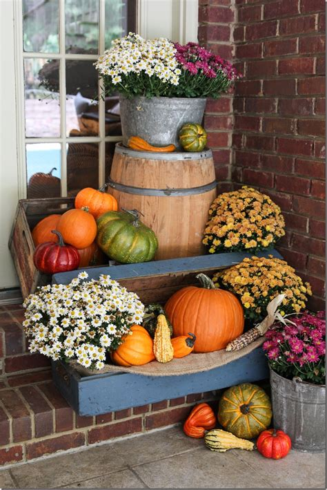 fall outdoor decorating ideas fall porch decor with plants and pumpkins unskinny boppy