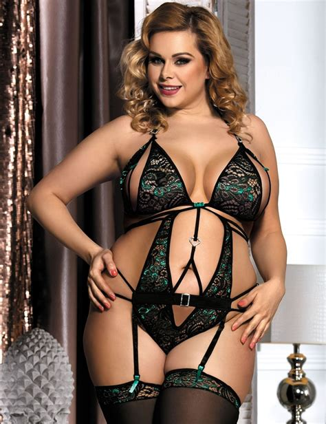 Xl Xl Xl peekaboo teddy garter open cup green emerald