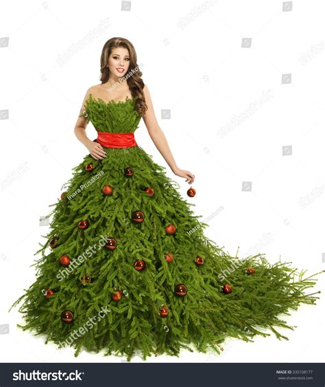 christmas tree woman dress fashion model isolated on