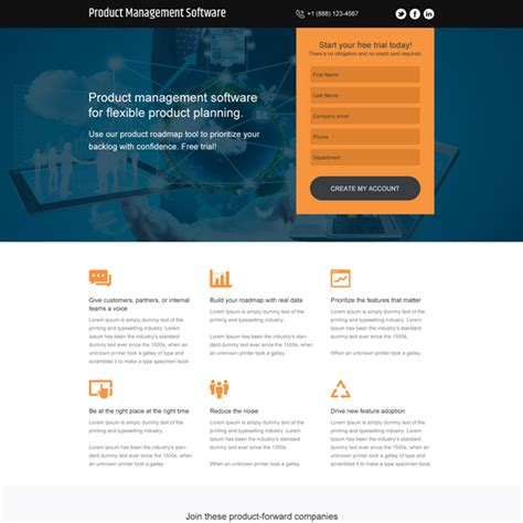 Product Management Software Free Trial Responsive Landing Page Dreamweaver Landing Page Templates Free
