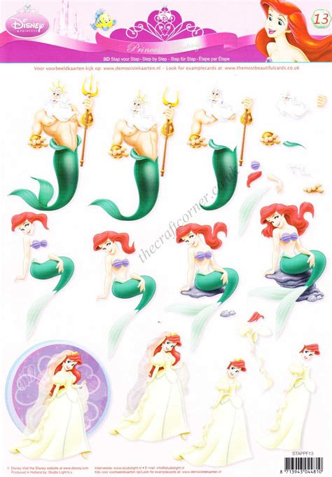 Disney Decoupage - disney ariel the mermaid 13 3d decoupage sheet