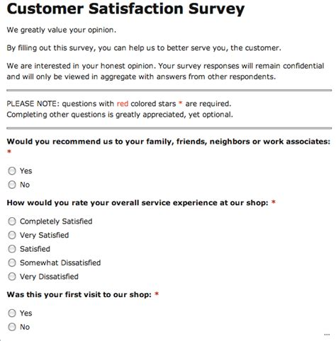 printable customer service questionnaire customer satisfaction survey helpful snapshot template