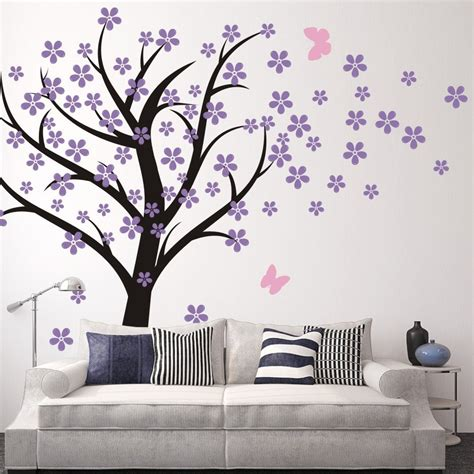 Amazon Com Cherry Blossom Wall Decals Baby Nursery Tree Purple Wall Decals For Nursery