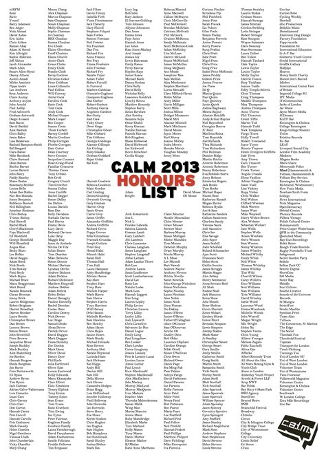 new year year of the list calm new years honours list 2013 caign against living