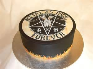 Heavy metal cake with black fondant and flames (sorry