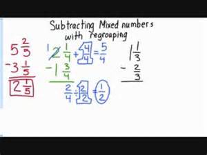 subtracting mixed numbers with regrouping youtube