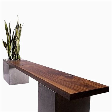 concrete and wood bench custom made modern concrete and wood planter bench by tao