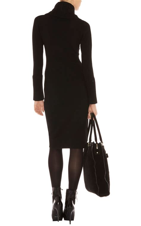 black knit dresses millen twisted cable knit dress in black lyst