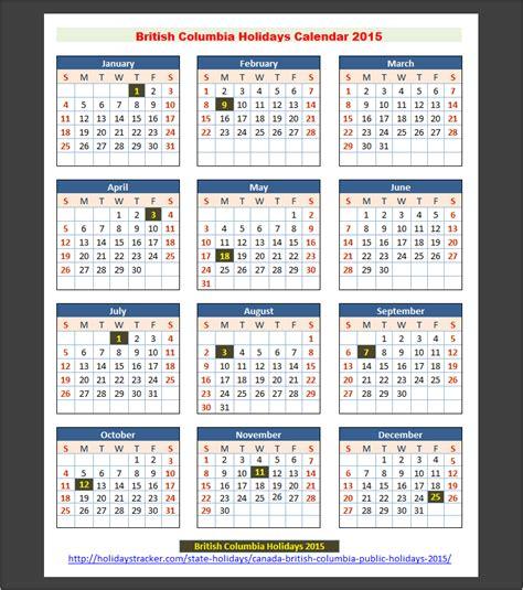 Bc Calendar Columbia Canada Holidays 2015 Holidays