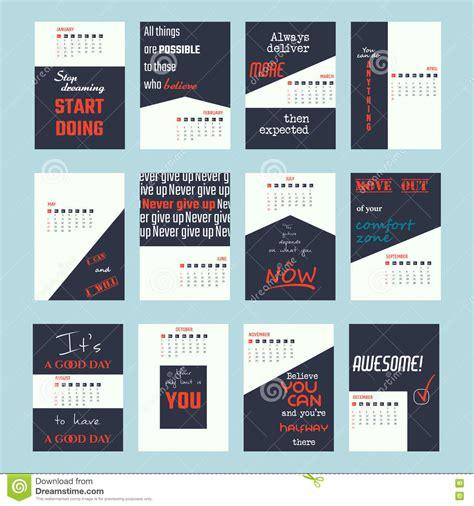 Calendar 2018 Motivational Motivation Quotes Calendar 2017 Stock Vector Image 77295320